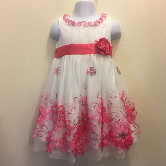 24M Bonnie Jean Girls Plaid Holiday Skirt /& Cardigan // Sweater Set 12M Fuschia
